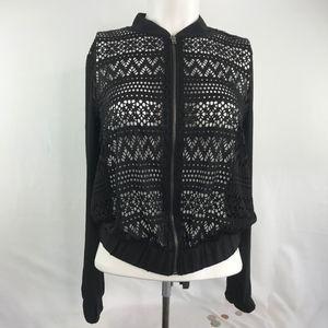 Lace Front Zip Up Jacket Black Long Sleeve Juniors